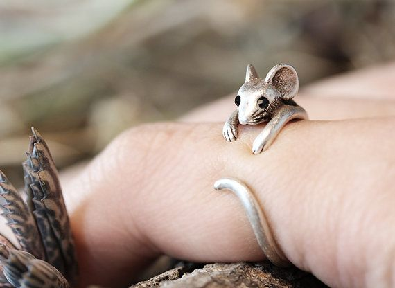 Mouse Ring Womens Girls Retro Burnished Rat Animal Ring Jewelry Adjustable Free Size Wrap Ring Black Crystal gift idea on Etsy, $9.50