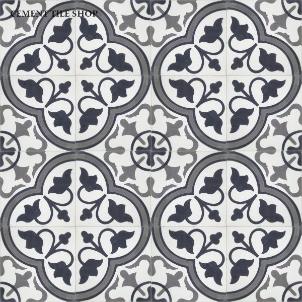 Cement Tile Shop - Encaustic Cement Tile | Roseton Black