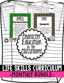 Character Education in the Classroom - MONTHLY Posters and