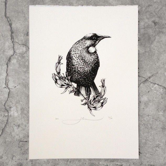 Waiheke Tapu Tui Screen Print by Flox - All Art Prints NZ Art Prints, Art Framing Design Prints, Posters & NZ Design Gifts | endemicworld