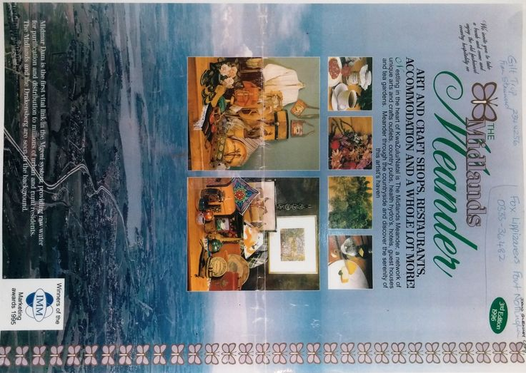 The famous Midlands Meander Guide, with a travel  map of the tourism routes and details about each of the establishments (shops, accommodation, arts, crafts, activities, and more!)  - this is the cover from 1996. www.midlandsmeander.co.za #throwback #kznhistory