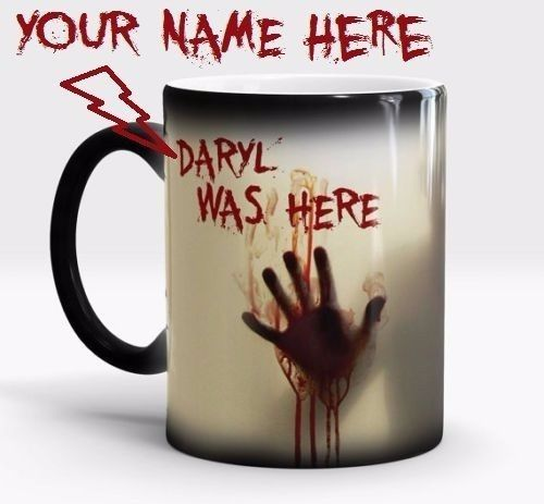 WALKING DEAD PERSONALIZED NAME ZOMBIE HUNTER Magic Color Changing Coffee Mug Cup