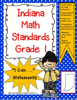 """These posters are created for Indiana Standards for 1st grade Math. They are written in the """"I can...."""" format. Written on full size pages, they may be used to post in the classroom to communicate to students what they are expected to know and be able to do."""