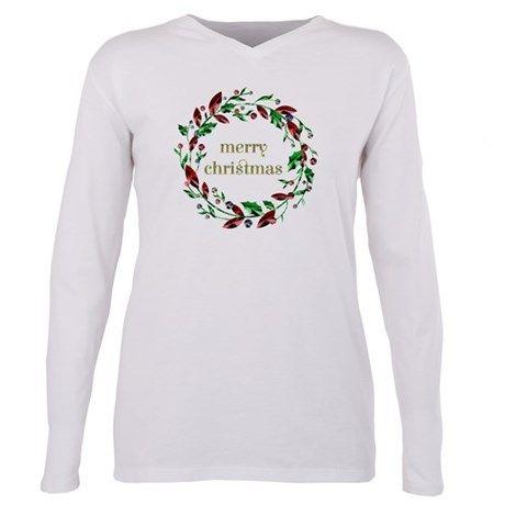 Merry Christmas Holly Wreath T-Shirt