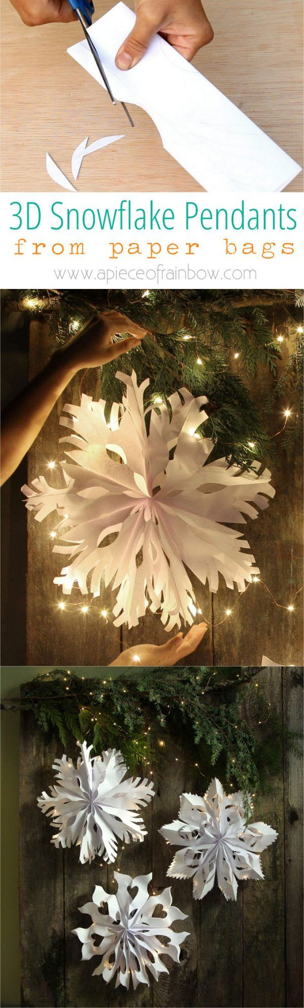 Giant 3D Paper Snowflake Pendants from Paper