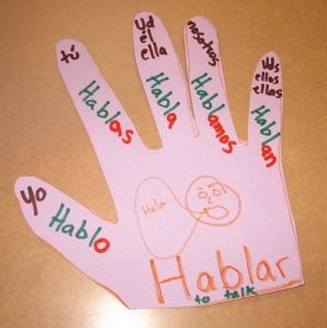Use a hand cut out to teach subject pronouns and verb conjugations in Spanish. Read the blog post to learn more!