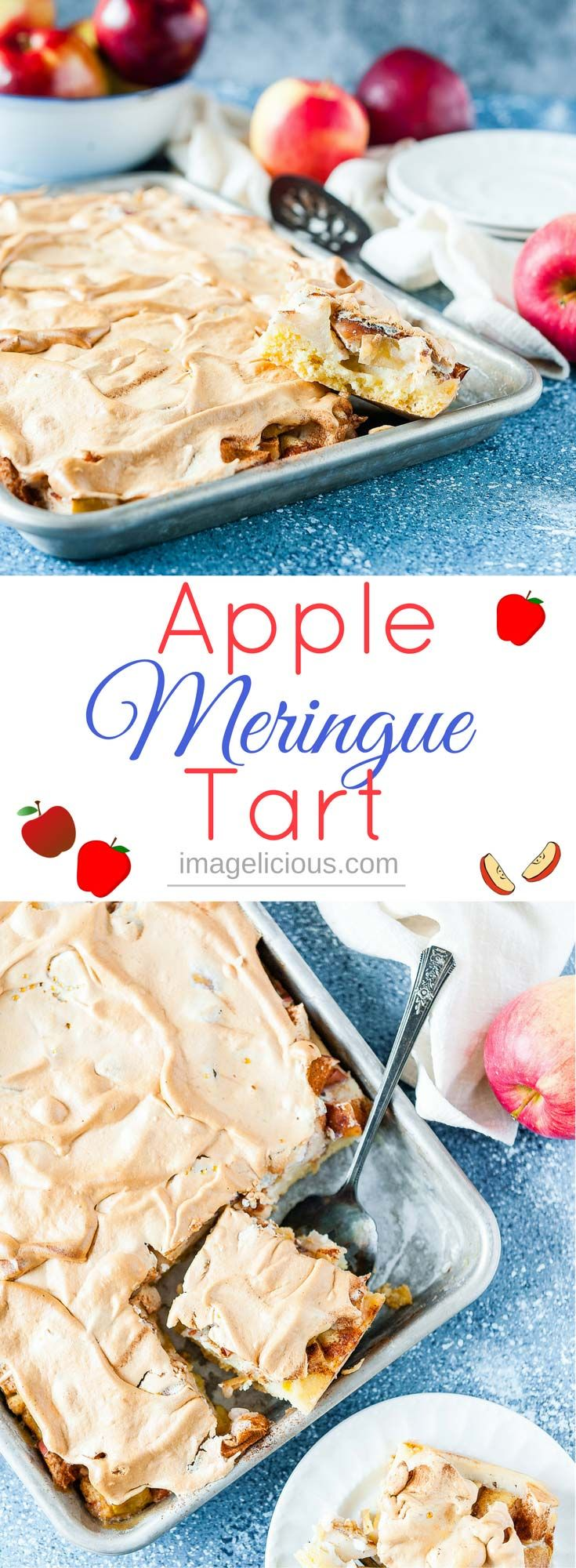 This Apple Meringue Tart is a gorgeous and delicious dessert at any time of the year. It looks beautiful and tastes festive and elegant. With a touch of cinnamon and soft and pillowy meringue topping | Imagelicious #Apples #AppleBaking #Meringues #Tarts #Dessert #OnAppleADay
