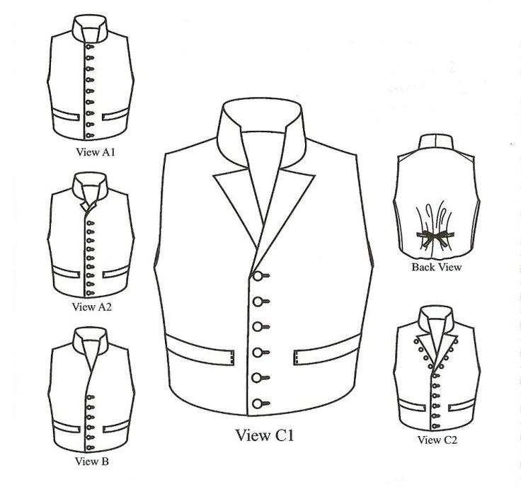 1790 - 1850 Single-Breasted Man's Waistcoats Pattern