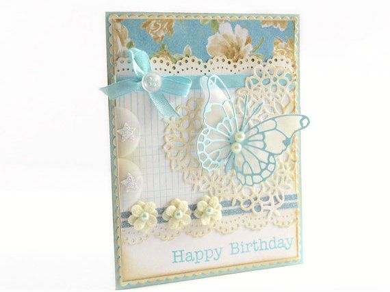 Happy Birthday Card, Shabby Chic, Floral Card, Birthday Card, For her Card, Butterfly Card