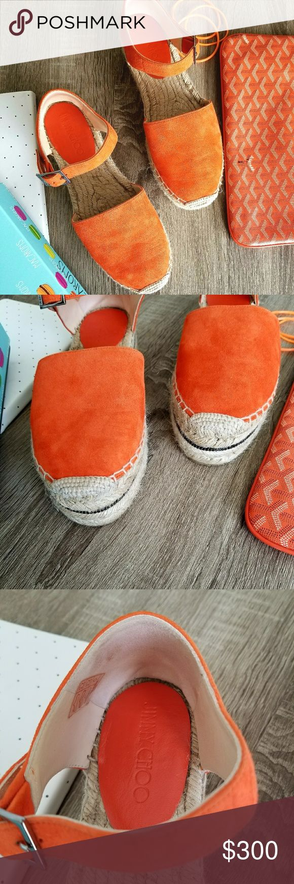 Jimmy Choo orange espadrilles Authentic Jimmy Choo orange espadrille shoes in excellent condition brand new.  It was a gift but I never wore them (too big for me) Comes with the box and a dust bag. Size 39 genuine suede Jimmy Choo Shoes Espadrilles