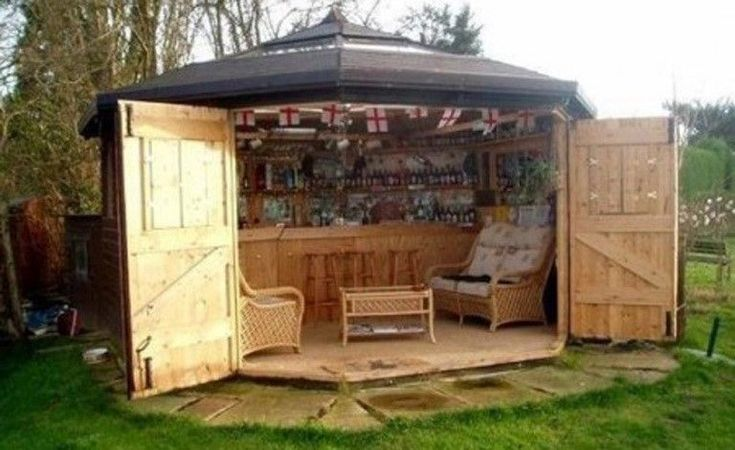 New Trend: Minibar sheds. Repurpose a backyard storage shed into a unique entertaining venue. Here are some great designs others have created. #backyardoasis #PatsyW #LakeMartin