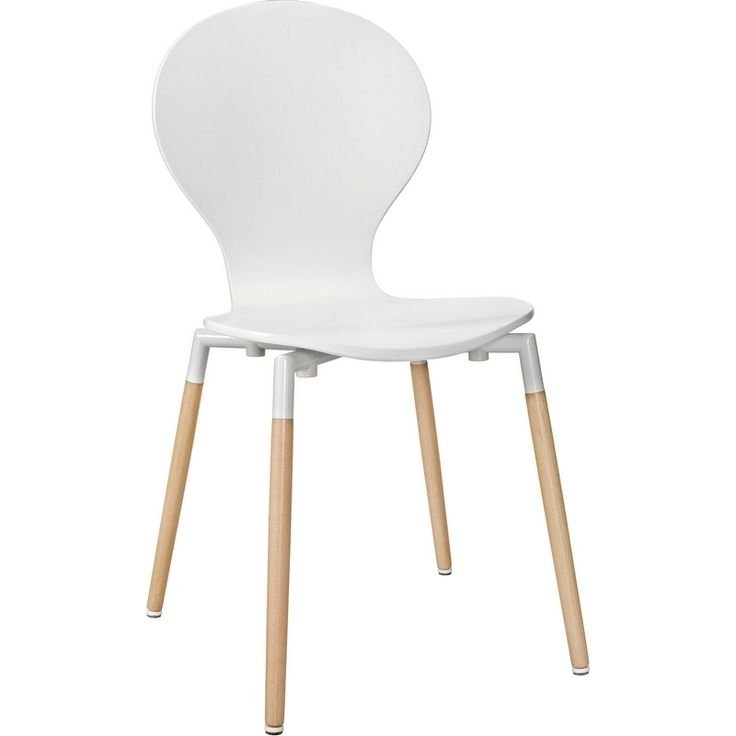 modway path dining chair in white beech - Modern Kitchen Chairs