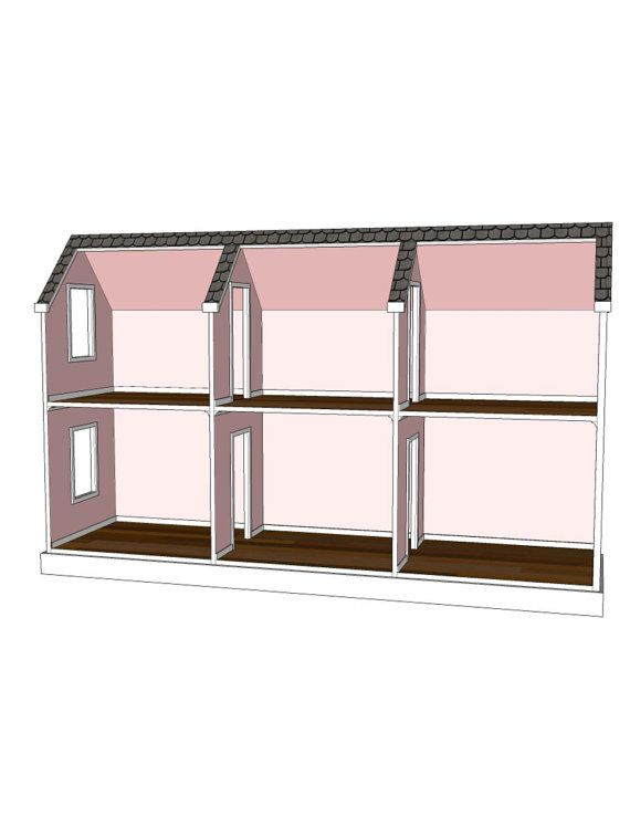 Doll house plans for american girl or 18 inch dolls 6 for Horizontal house plans
