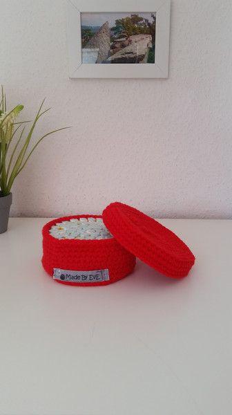 Badutensilos - Körbchen Deckel S gehäkelt rot Utensilo - ein Designerstück von EvE-Paris bei DaWanda
