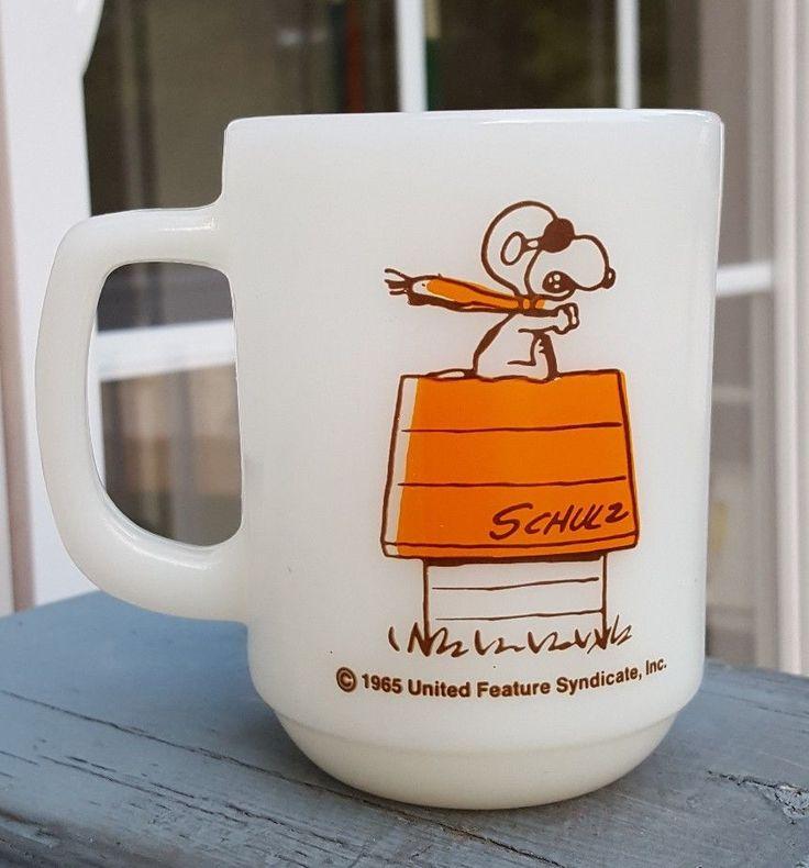 Vintage Fire King Snoopy Flying Ace Coffee Mug RARE Orange/Brown Version #FireKing
