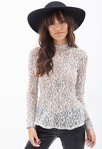 Floral Lace Peplum Top | FOREVER21 - 2000120602