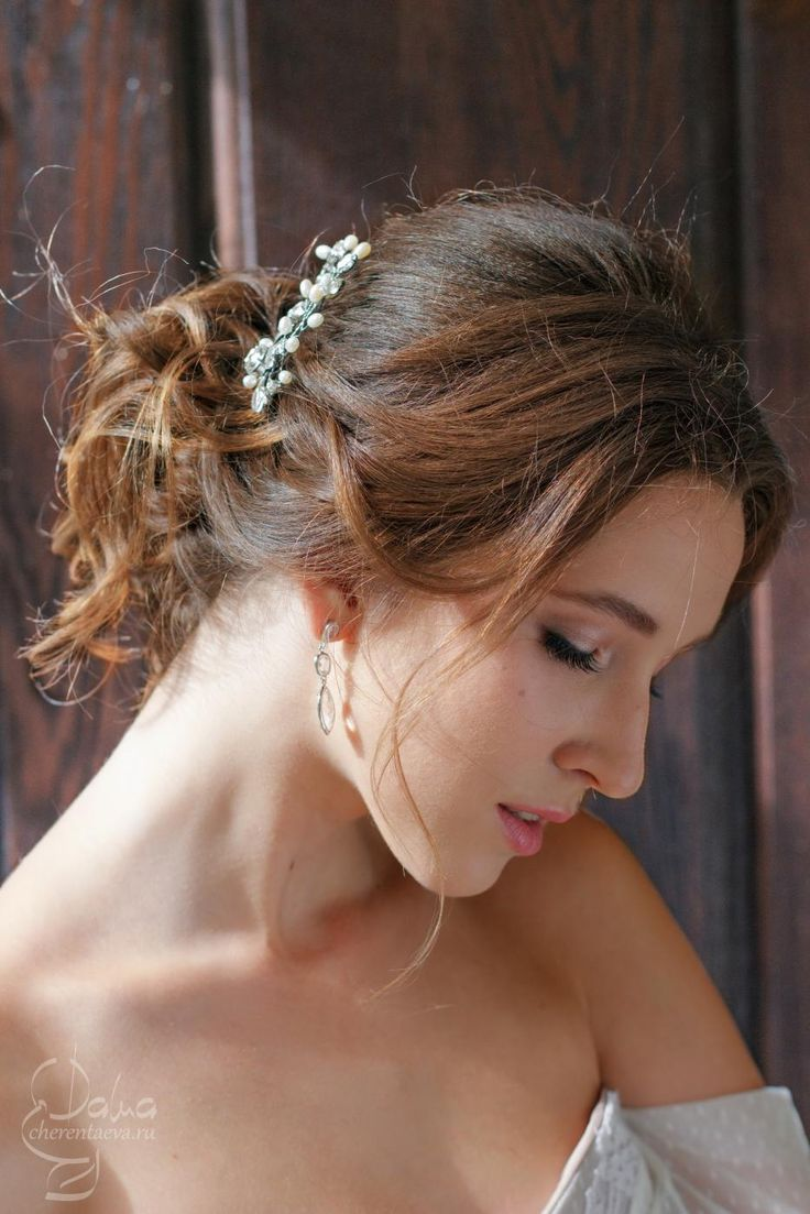 июль 2015 свадебная прическа, небрежный пучок wedding bride make-up and hair