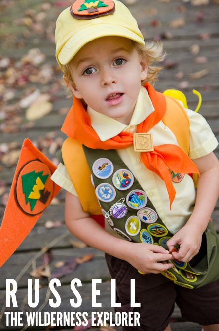 DIY Halloween Costume for Russell from Pixar's UP--the cutest Wilderness Explorer!  http://www.solandrachel.com/2012/10/how-to-make-russell-and-mr-fredericksen.html