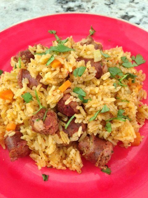 Locrio de Longaniza - Dominican Pork Sausage and Rice