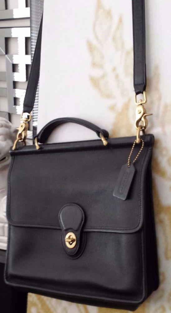 Classic, Vintage COACH Black Leather Willis Messenger Crossbody Shoulder Bag  #Coach #MessengerCrossBody