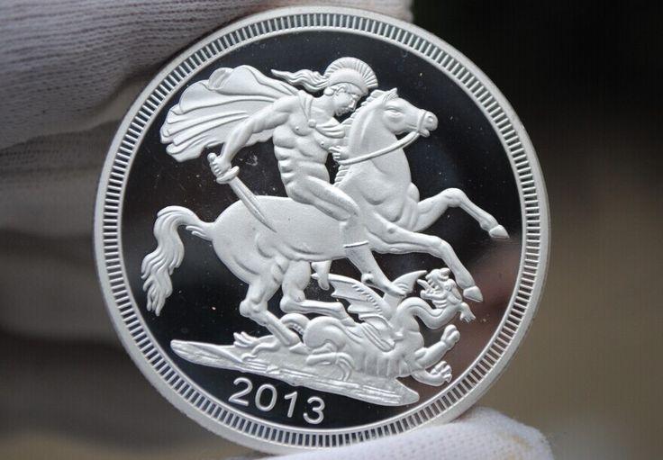 50 шт./лот Бесплатная доставка СУВЕРЕННЫЙ Елизавета II и St George убийство Дракона 24 К одну тройскую унцию посеребренные монет