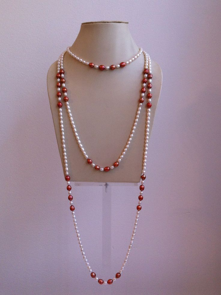 Sweet water white and coral pearl xl necklace, by BAHIQUE Amsterdam.