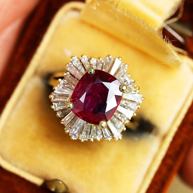 The classic ballerina style ring is made of solid 18kt yellow gold and is polygonal in shape with 6 sides where the diamonds are encrusted in a swirl around its center. EGL USA certifies this ruby to be natural exhibiting a purplish red color and weigh 2.28 carats. | eBay!