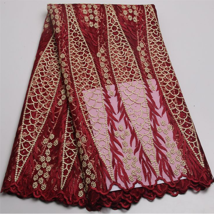 2017 african cord lace High quality french lace fabric with plenty stones.Wine African lace fabric for nigerian WeddingXY413B-1