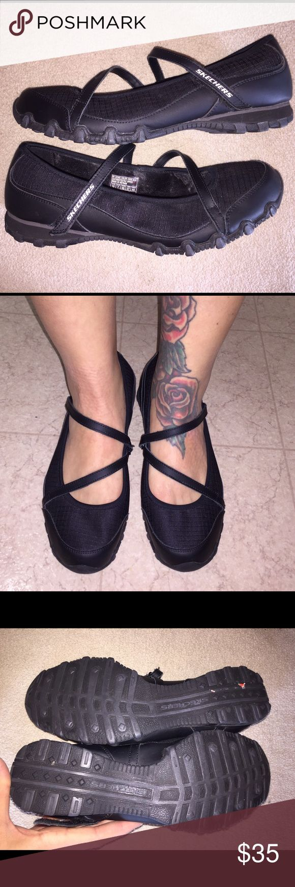 BRAND NEW Mary Jane style flats w/Velcro straps New, excellent condition black Mary Jane style flats with velcro straps, women's size 10 Skechers Shoes Flats & Loafers