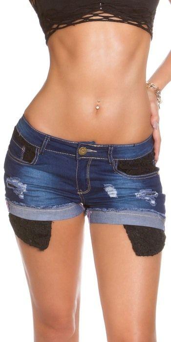 Dámské džínové šortky s krajkou