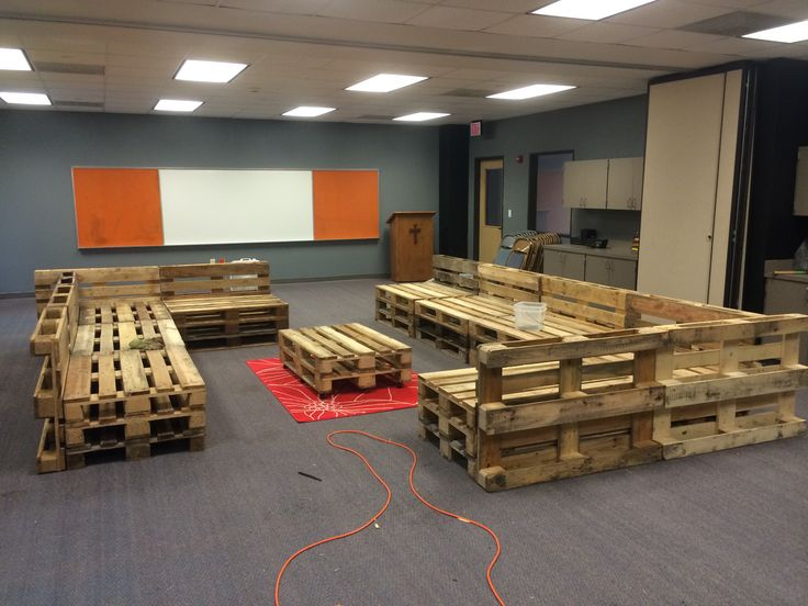 Pallet couches! Made them in just a few hours for a Sunday school room in the youth wing!