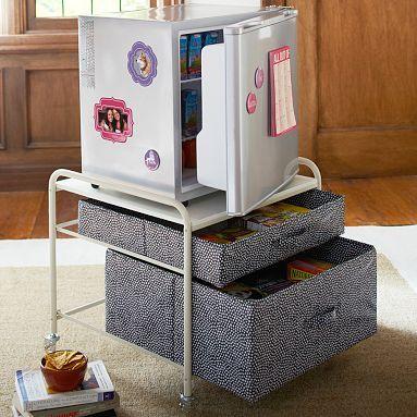 Supercool Fridge Cart #potterybarnteen I really like this, or something similar.