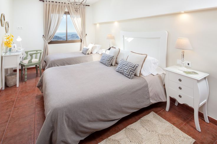 Charming bedroom in rural hotel: Gray and white. Beautiful!