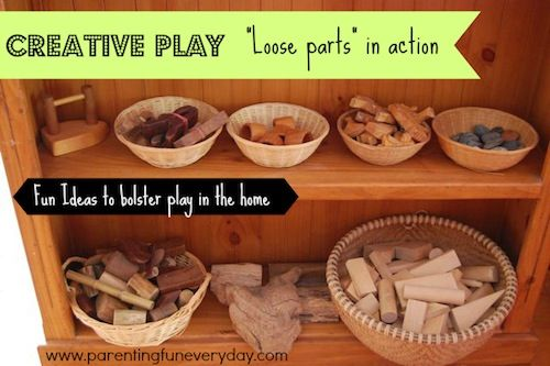 How do children play? Loose parts in action. A heap of ways to 'scaffold' play and help your children's imagination to grow. Parenting Fun Every Day www.parentingfuneveryday.com