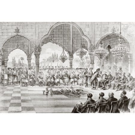 Reception For The Governor General Of India By The Rajah Of Lucknow In 1868 From Lunivers Illustre Published In Paris In 1868 Canvas Art - Ken Welsh Design Pics (34 x 24)