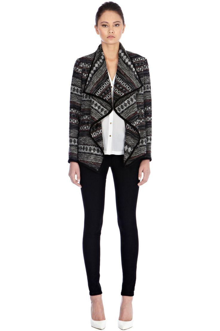 Clothing   Black Textured Stripe Drape Jacket   Warehouse