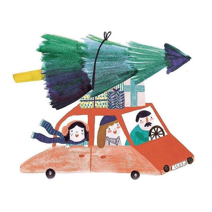 Illustration Daria_solak_illustrations ~ seen on happymakersblog.com  #drivinghomeforchristmas #christmas2016 #illustration #christmasillustration