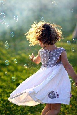 ♕ Little girl dancing outside