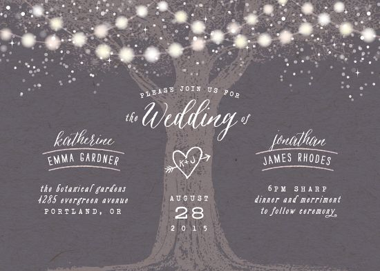'Garden Lights' rustic wedding invite by Hooray Creative