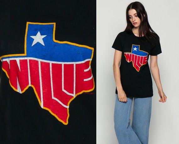 Willie Nelson Shirt Band Tshirt Tour 1983 Vintage Country Music Tshirt Texas 80s Band Concert T Shirt 1980s Retro Tee Small Medium