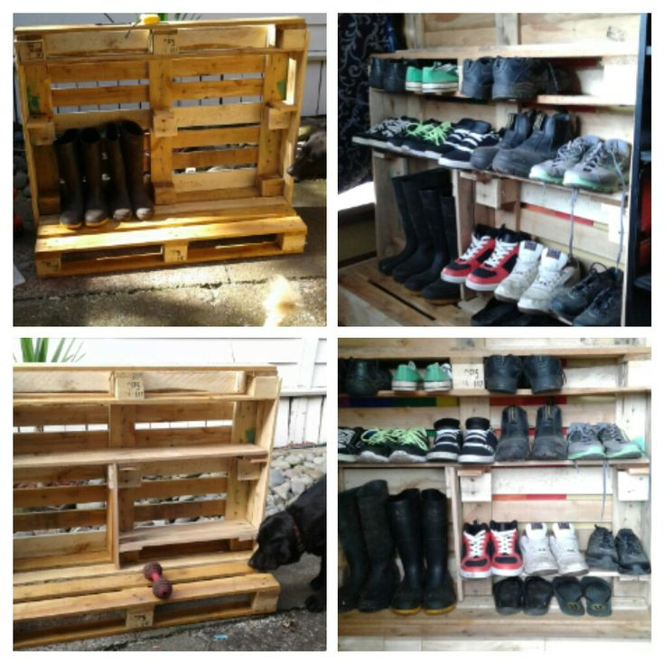 Shoe rack version 2 created out of pallets  (top part to come, enclosed shelf for dart board)