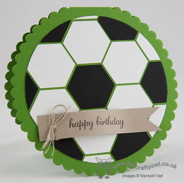 Round Hexagon Football Punch Art Card Circle Framelits, Hexagon Punch, Express Yourself,  Joanne James, Stampin' Up UK Demonstrator blog.thecraftyowl.co.uk