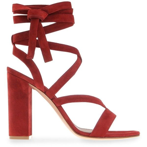 Gianvito Rossi Janis Block-Heel Sandal (1,085 CAD) ❤ liked on Polyvore featuring shoes, sandals, kirna zabete, kz's most wanted, kzloves /, strappy sandals, high heel sandals, red heeled sandals, red sandals and suede sandals