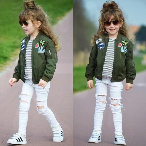 Fashion Zipper Up Embroidered Baby Bomber Jacket
