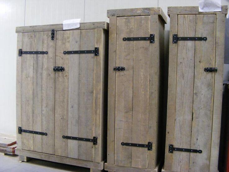 Kledingkast steigerhout 60cm breed met 2 schappen en 1 hang gedeelte (22131451) | Kledingkasten van steigerhout | JORG`S Houten Meubelen