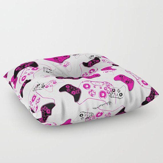 Girl Gamer Floor Pouf, Video Game Pillow, Gamer Pillow, Pink Gamer Room, Floor Pillow Seating, Gamer Gift, Gamer Girl, Rec Room, Family Room