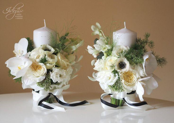Modern wedding / black and white / lumanari nunta / design Idyllic Events