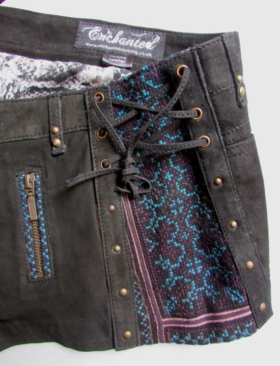 Sued leather steampunk shorts tribal shorts by EnchantedClothing