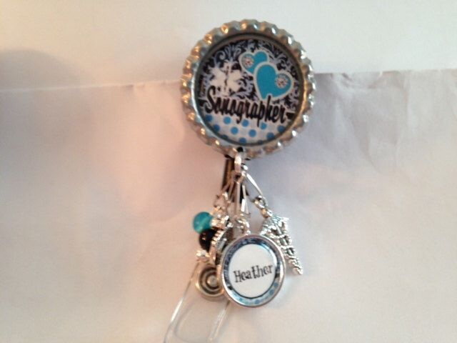 Personalized Sonographer beaded badge reel, id tag--- Ultrasound technician, sonography, retractable badge, velcro badge, id badge by FlipflopBottlecaps on Etsy https://www.etsy.com/listing/212084431/personalized-sonographer-beaded-badge