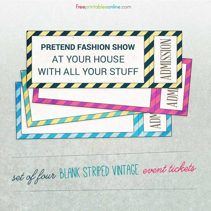 Striped Vintage Blank Event Ticket Templates … | Pinteres…